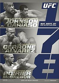 A poster or logo for UFC 178: Johnson vs. Cariaso.
