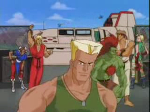 Street Fighter (TV series) - From left to right: Chun-Li, Ken, Guile, Blanka, Ryu, and Cammy