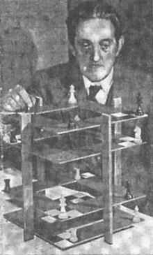 newspaper photograph of V. R. Parton demonstrating 3D chess