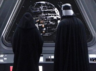 Death Star - Emperor Palpatine (left) and Darth Vader (right) watch the original Death Star's construction in Star Wars: Episode III – Revenge of the Sith.