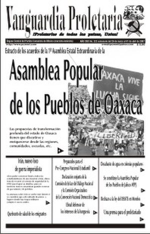 "Communist Party of Mexico (Marxist–Leninist) - A cover of ""Vanguardia Proletaria"" about APPO. The party participated in APPO. In the header the reader can see the heads of K. Marx, F. Engels, V. I. Lenin and J. V. Stalin"
