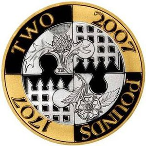 Acts of Union 1707 - The £2 coin issued in the United Kingdom in 2007 to commemorate the 300th anniversary of the Acts of Union