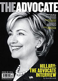 The cover of the American LGBT-interest magazine The Advocate, No. 994, October 9, 2007; Hillary Clinton is on the cover