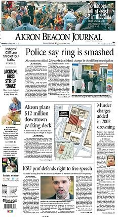 Akron Beacon Journal front page