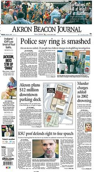 Akron Beacon Journal - The March 2, 2007 front page of the Akron Beacon Journal