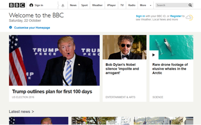 BBC Online partial screenshot 2016