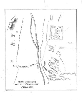 Battle of Cañada - A page from Colonel Price's report showing troop movements.