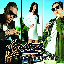 A split portrait of a black man on the left split, a brunette woman on the center split and a white man on the right split. The two men are posing while wearing bling jewellery and dark sunglasses. The woman is posing in a white dress with her one arm on her hip. Below them is the name 'N-Dubz' and the title 'Best Behaviour'.