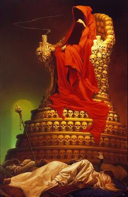 A man wearing a red robe, his face shrouded by the hood, sitting on a throne made out of skulls above several corpses.