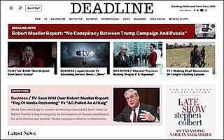 <i>Deadline Hollywood</i> Online entertainment news magazine
