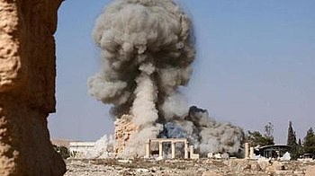 The Temple of Baalshamin in Palmyra being blown up by ISIL in July or August 2015.