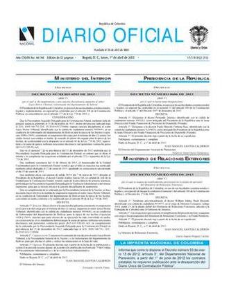 Diario Oficial (Colombia) - Image: Diario Oficial No 48,748