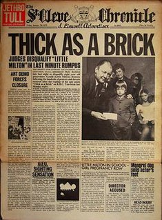 <i>Thick as a Brick</i> fifth studio album by the English progressive rock band Jethro Tull