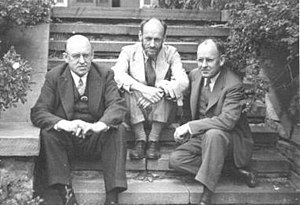 Ralph Flanders - Flanders brothers, Ralph, Donald (Manhattan Project mathematician), and Ernest (co-inventor). Ca. 1955.