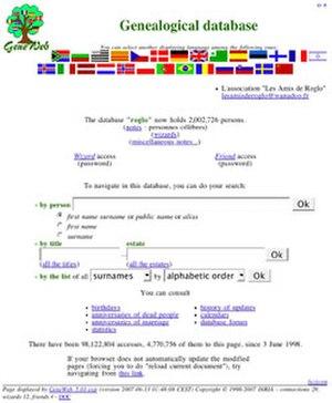 GeneWeb - Image: Gene Web screenshot