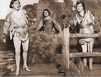 """Princess Ida - """"Gently, Gently"""": Darnton (Cyril, left), Oldham (Hilarion, right) and Granville (Florian), 1921"""
