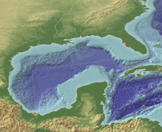History of Sarasota, Florida - Gulf of Mexico in 3-D - note the shallow shelf extending one hundred miles to the west of Sarasota (red dot)
