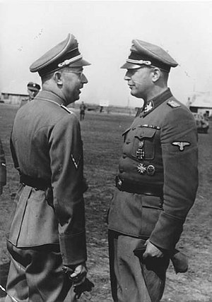 Hans-Adolf Prützmann - Obergruppenführer Hans-Adolf Prützmann (right) meets with Reichsführer-SS Heinrich Himmler, during Himmler's visit of the 5th SS Panzer Division Wiking in Ukraine, September 1942.