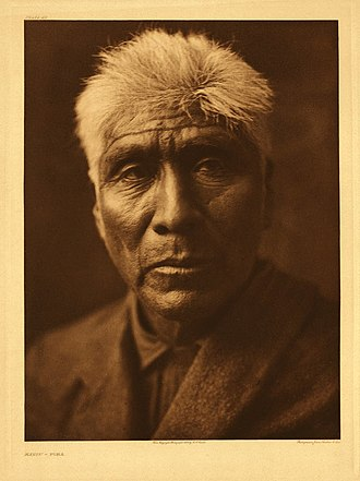 Pima people - Kaviu, a Pima elder, photographed around 1907 by Edward S. Curtis.