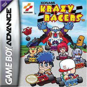 Konami Krazy Racers - Konami Krazy Racers box art featuring eight playable characters. From left to right:Takosuke, Nyami, Goemon, Dracula, Power Pro, Pastel, Cyborg Ninja, and Moai.