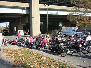 New York City Marathon - Professional wheelers heading for the starting line in 2007.