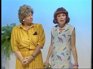 """Victoria Wood as Seen on TV - Joan (Victoria Wood) and Margery (Julie Walters). This sketch was """"revived"""" and introduced the script book Barmy."""