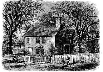 North Burial Ground - Mowry Tavern (now demolished), a stone-ender on Abbott St., as it looked in ca. 1885, with the Cemetery behind it
