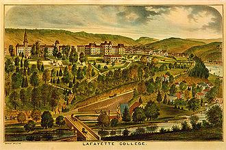 Lafayette College - Lithograph of Lafayette College, circa 1875.