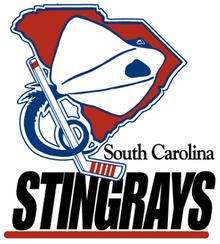 "Original South Carolina Stingrays logo: Red silhouette of the state of South Carolina with a white stingray superimposed. Stingray's blue tail is curled around a white hockey stick, with the words ""South Carolina Stingrays"" in black."