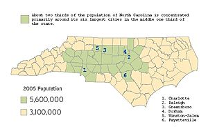 Demographics of North Carolina - With two-thirds of North Carolina's population living in the middle one-third of its landmass, the middle third of the state is about four times more densely populated than the remaining two-thirds.