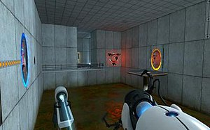 The Orange Box - In-game screenshot of Portal, which became a surprise favorite among players, and later spawned a franchise