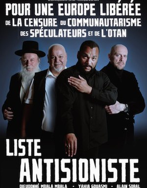 Quenelle (gesture) - A campaign poster for the 2009 election promoting the anti-Zionist list, featuring the quenelle gesture