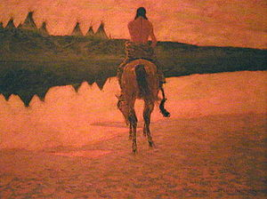 Nocturne (painting) - Frederic Remington, Sunset on the Plains, 1905–1906, is representative of his late Impressionistic style. The painting is in the West Point Museum Collection, United States Military Academy, New York.