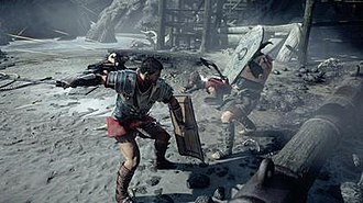Ryse: Son of Rome - The game's protagonist, Marius Titus, is equipped with a sword and a shield to fight against enemies. The game is powered by the fourth generation of Crytek's CryEngine.