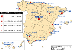 Metropolitan Areas of Spain, 2007 data.