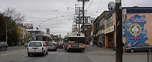 St. Clair Avenue - Looking east on St. Clair Avenue West, near Lansdowne in 2004, before the right-of-way project.