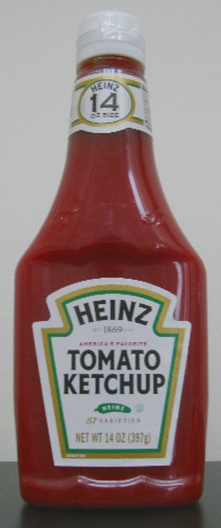 A bottle of Heinz Ketchup.