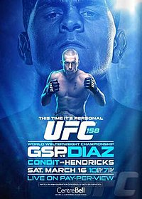 A poster or logo for UFC 158: St-Pierre vs. Diaz.