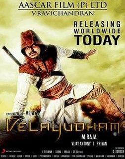 <i>Velayudham</i> 2011 superhero film by M. Raja