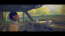 A view of Virginia's non-playable character Maria Halperin, sat in a car with a packed lunch arranged on the dashboard.