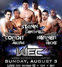 A poster or logo for WEC 35: Condit vs. Miura.