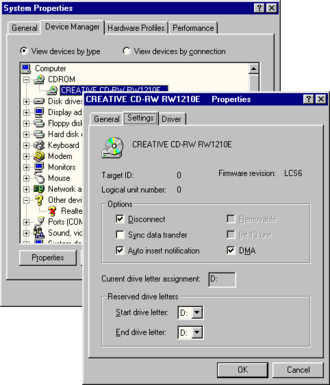 AutoRun - AutoRun settings for CD-ROM drive on Windows 98.