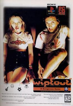 Wipeout (video game) - The controversial WipEout poster featuring television presenter and DJ Sara Cox, leftmost in the poster.