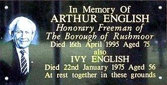 Park Crematorium, Aldershot - Memorial to Arthur English at the Park Crematorium