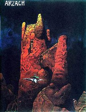"Jean Giraud - The opening panel of Mœbius's ""Arzach"""