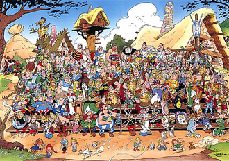 Asterix - Some of the many characters in Asterix. In the front row are the regular characters, with Asterix himself in the centre.