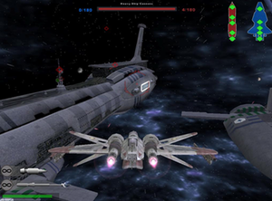 Star Wars: Battlefront II (2005 video game) - In Battlefront II players can battle in space and engage in ship-to-ship combat. Players sabotage enemy capital ships externally by firing at vital systems, or on foot by landing in the enemy hangar.