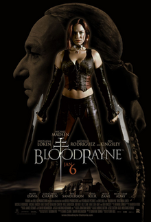 "Bloodrayne stands centre, shown holding her special blades. The face of Kagan fills the frame behind her. Below the title, there is ""Jan 6"" release date and poster billing."