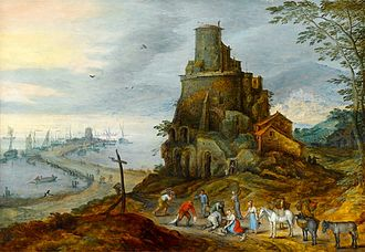 Jan Brueghel the Younger - Jan Brueghel II A Coastal Landscape with Fishermen with their Catch by a Ruined Tower, oil on panel.