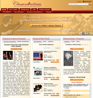 Classical Archives - Image: Classical Archives Screen Shot